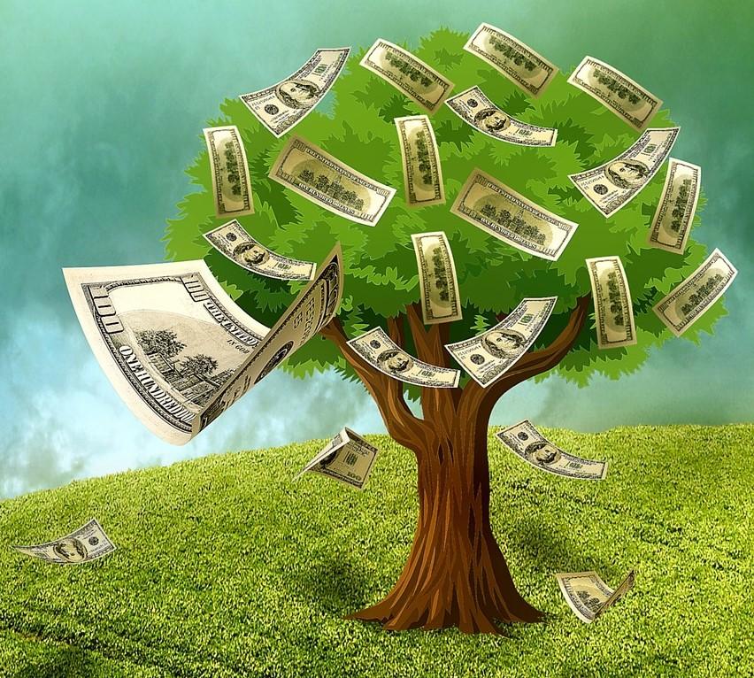 Geldbaum als Symbol für finanzielle Freiheit